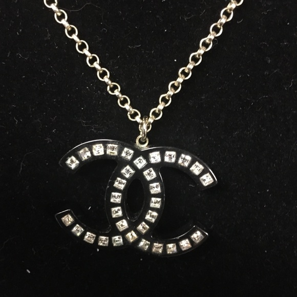 CHANEL Pendant with SILVER hardware and crystals